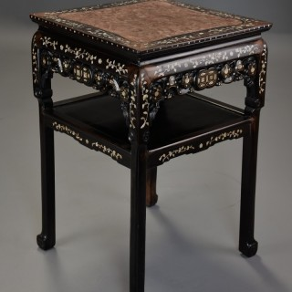Highly decorative late 19thc Chinese hardwood & mother of pearl square pot stand