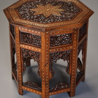 Superb quality highly decorative 19thc Anglo Indian carved & inlaid hardwood octagonal table