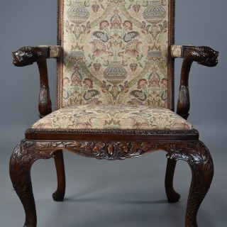 Superb George II style mahogany Gainsborough open armchair or library chair