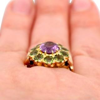 2.41ct Amethyst and 2.56ct Peridot, 9ct Yellow Gold Dress Ring - Antique Circa 1890