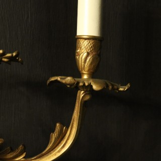 French Pair Of Gilded Triple Arm Wall Lights