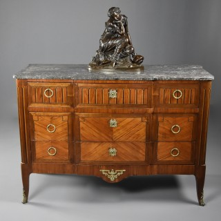 Late 19th century French Louis XVI style tulipwood breakfront commode of superb patina