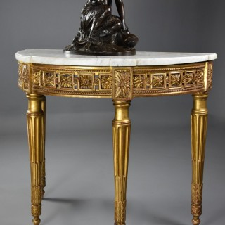 Highly decorative late 19th century French demi-lune gilt console table