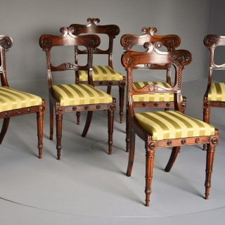 Early 19th century fine quality set of six Regency rosewood dining chairs