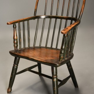 Superb early 19thc West Country ash & elm hoop back Windsor chair with original green paint finish