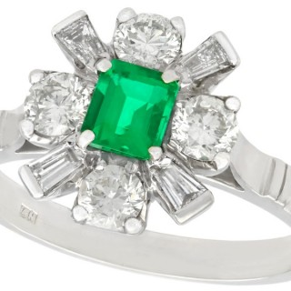 0.38 ct Emerald and 0.54 ct Diamond, 18 ct White Gold Dress Ring - Contemporary 2008
