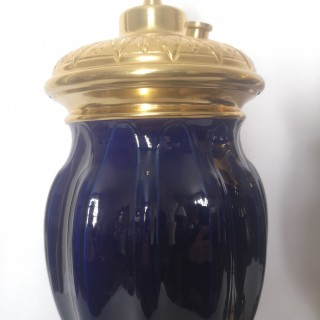 Pair Of 19th Century French Blue Porcelain And Gilt Bronze Lamps