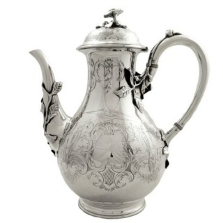 Antique Victorian Sterling Silver 'Birds' Coffee Pot 1852