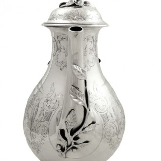 Antique Victorian Sterling Silver 'Birds' Coffee Pot 1852