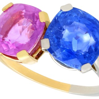 10.50 ct Sapphire, 18 ct Yellow Gold and Platinum Dress Ring - Vintage Circa 1940