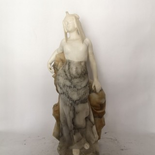 Early 20th Century French Marble Sculpture Of An Egyptian Lady And Sphinx