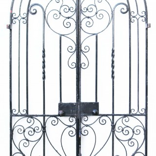 An Antique Arched Wrought Iron Garden Gate