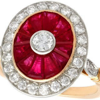 1.30ct Ruby and 0.90ct Diamond, 18ct Yellow Gold Dress Ring - Vintage Circa 1980