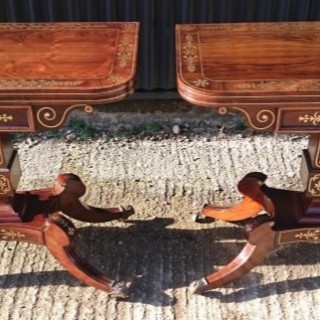 Pair of Antique Regency Card Tables