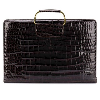 Exceptional Document Briefcase in brown crocodile leather c.1970