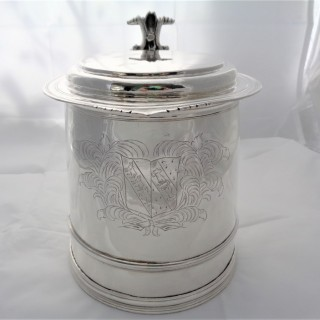 Huge armorial Charles II silver lidded tankard London 1683 Thomas Jenkins