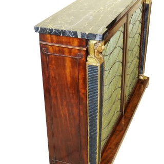 Regency 19th Century English Mahogany & Parcel Gilt Side Cabinet
