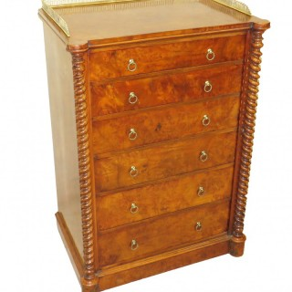 19th Century Walnut Wellington Chest Of Drawers