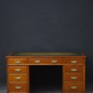 Late Victorian Walnut Pedestal Desk by Maple & CO
