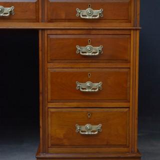 Late Victorian Walnut Pedestal Desk by Maple & CO