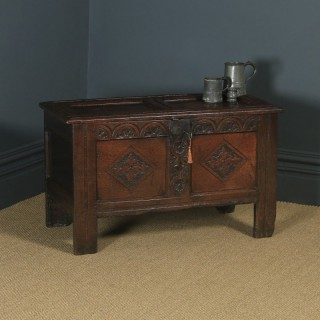 Antique English Georgian Oak Carved Twin Panel Coffer Chest Blanket Box Trunk (Circa 1730)