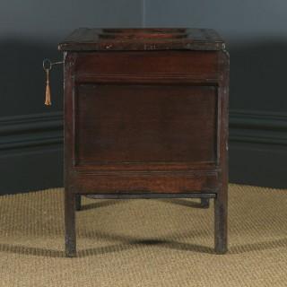Antique English Georgian Oak Carved Twin Panel Coffer Chest Blanket Box Trunk (Circa 1730)