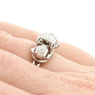 0.53ct Diamond and 18ct White Gold Dress Ring - Vintage Circa 1950