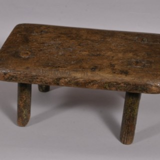 Antique Primitive Solid Oak Stool of the Georgian Period