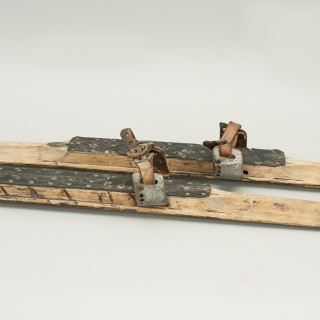 Pair Of Early Nordic Cross Country Skis, Museum Piece.