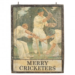 Antique Cricket Pub Sign, Merry Cricketers