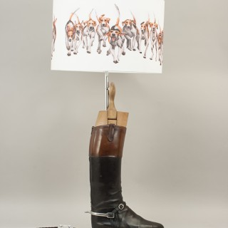 Pair Of Hunting Boot Lamps With Hunt Hound Shades