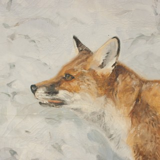 Painting Of A Fox In Winter Landscape By Jonathan Sainsbury