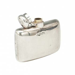 Edwardian Silver Hip Flask By Atkin Bros.