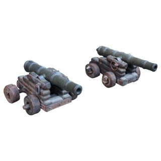 Pair of Bronzed Steel Cannons on Pine Stands