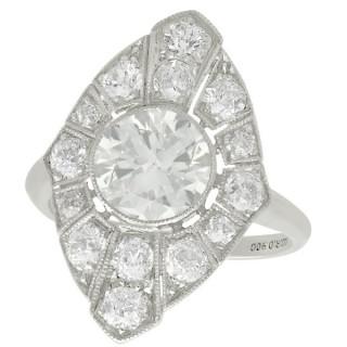 3.60ct Diamond and Platinum Marquise Ring - Art Deco - Antique Circa 1930