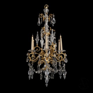 A Fine Pair Of Cut-Glass and Gilt-Bronze Six-Light Chandeliers