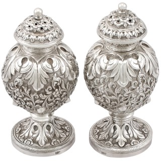 Indian Silver Peppers by Oomersee Mawjee & Sons - Antique Circa 1890