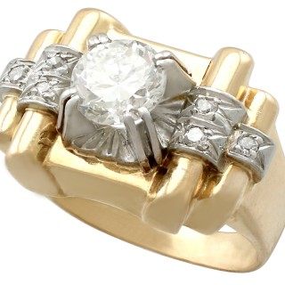 1.18 ct Diamond and 18 ct Yellow Gold Dress Ring - Vintage French Circa 1940