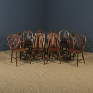 Antique English Set of 12 Victorian Ash & Elm Windsor Stick & Hoop Back Kitchen Chairs (Circa 1880 - 1920)