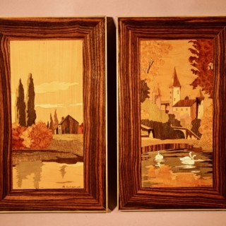A Very Decorative Art Deco Pair of Signed Marquetry Panels, Circa 1920-1940