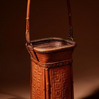 A Very Fine Chinese/Japanese Ikebana Flower Art Woven Bamboo and Cane Basket circa 1920-1930