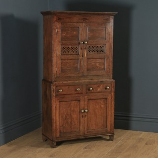 Antique Welsh Georgian Oak Cwpwrdd Bara Caws Or Bread Cheese Food Inlaid Kitchen Housekeepers Cupboard (Circa 1810)