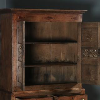 Antique Welsh Georgian Oak Cwpwrdd Bara Caws Or Bread Cheese Food Inlaid Kitchen Housekeepers Cupboard (Circa 1810)
