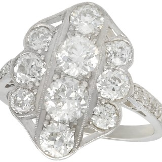 2.85 ct Diamond and 18 ct White Gold Dress Ring - Vintage Circa 1940