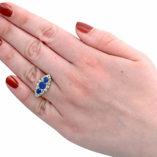 1.48 ct Sapphire and 1.04 ct Diamond, 18 ct Yellow Gold Dress Ring - Antique Circa 1900