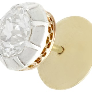 3.58ct Diamond and 14ct Yellow Gold, Silver Set Stud Earrings - Antique Circa 1910