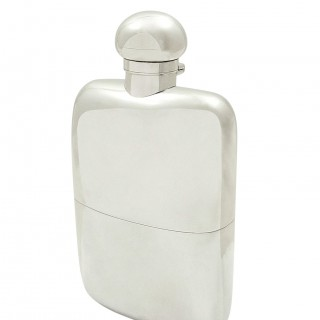 Antique Sterling Silver Hip Flask with Cup 1911