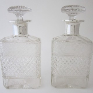 Antique George V Sterling silver and cut glass decanters