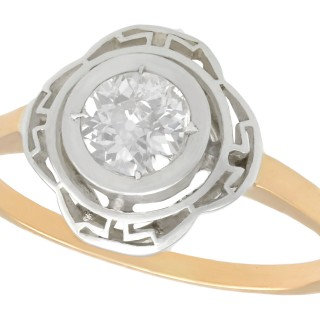 0.51ct Diamond and 14ct Yellow Gold, Silver Set Solitaire Ring - Antique Circa 1920