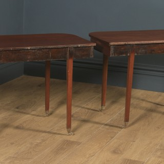Antique English Georgian Solid Mahogany Round / Extendable D End Drop Leaf Dining Table Seats 12 Persons (Circa 1820)